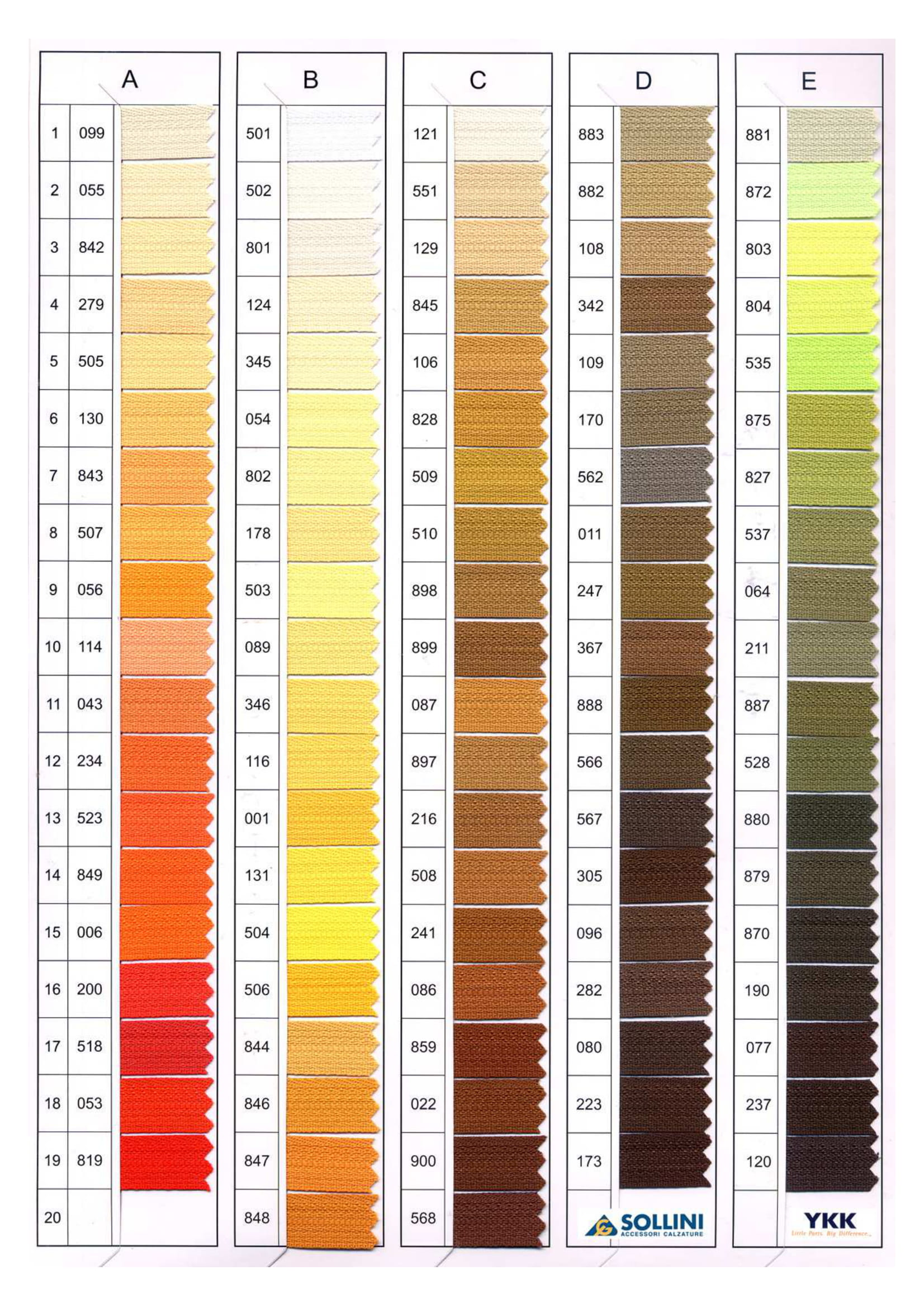Cartella colori YKK pagina 1