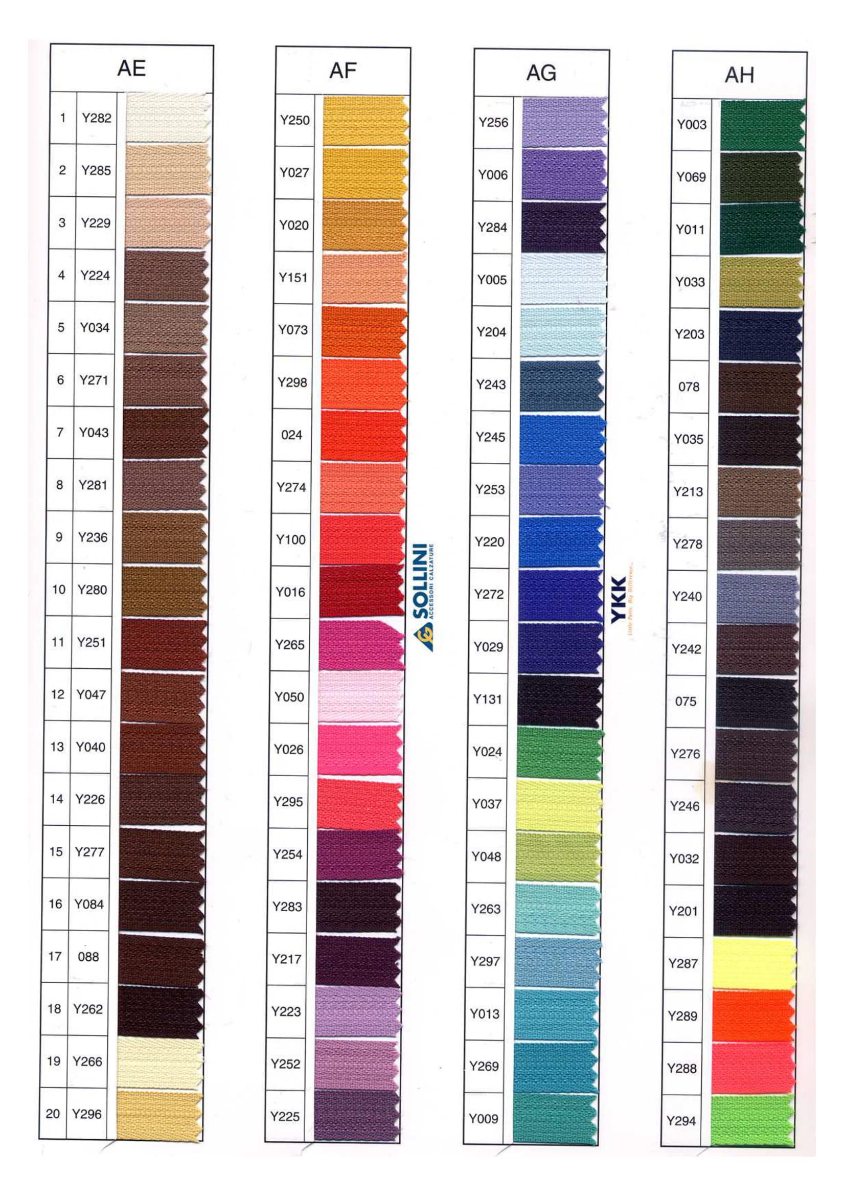 Cartella colori YKK pagina 7